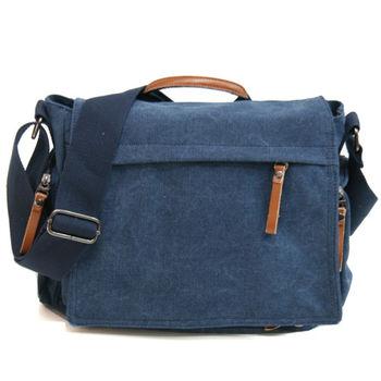 MAKSIM 型男學院風格帆布側背包平板包書包(8219-1寶藍)