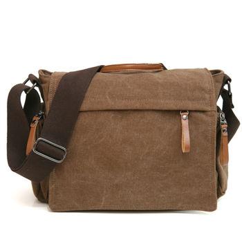 MAKSIM 型男學院風格帆布側背包平板包書包(8219-1咖)