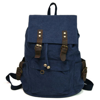 MAKSIM 韓版潮流休閒風時尚後背帆布包(1037寶藍)