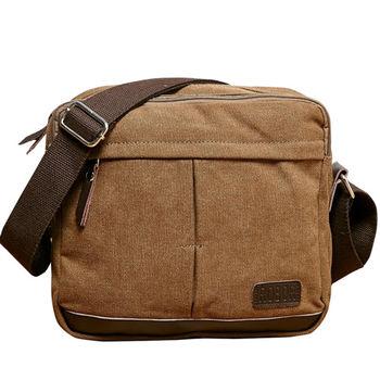 MAKSIM 潮流時尚必備側背帆布包(1117棕)
