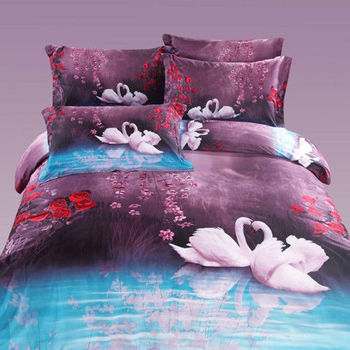RODERLY 花前月鏡 柔絲絨 雙人四件式全舖棉兩用被床包組