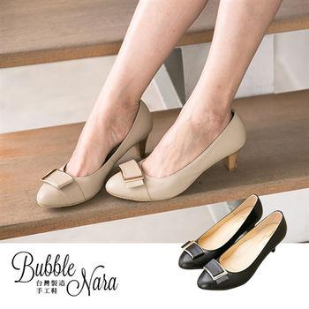 Bubble Nara 波波娜拉~月兒彎彎方釦微尖頭靜音高跟鞋-2色