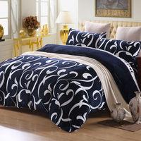 Picasso 勾勒藝術 #45 藍 法蘭絨 加大四件式兩用被鋪棉床包組