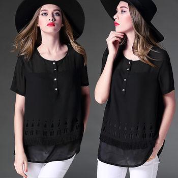 【麗質達人中大碼】百搭黑色雪紡上衣(XL-5XL)