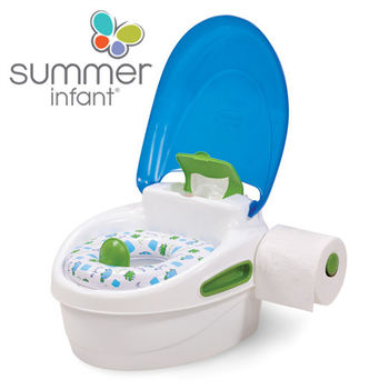 【美國Summer Infant】豪華3合1兒童馬桶練習組(藍色)