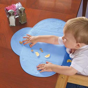 【美國Summer Infant】可攜式防水學習餐墊(粉藍)