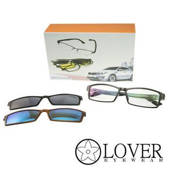 【Lover】磁鐵夾片前掛式-TR90長方黑色全框光學眼鏡(K-6825-C1)