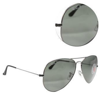 【Ray Ban】AVIATOR LARGE METAL-飛官款大版 偏光墨綠銀框太陽眼鏡(RB3025 004/58)