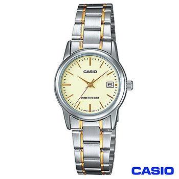 CASIO卡西歐 女仕金系商務時尚鋼帶腕錶 LTP-V002SG-9A