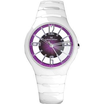 【Max Max】鏤空透視 時尚雅緻陶瓷腕錶-紫x白(MAS5131-2)