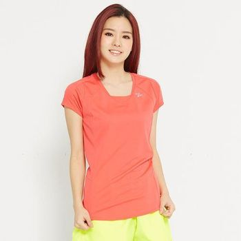 TOP GIRL 素面休閒吸濕排汗短袖T -橘紅