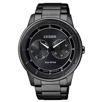 【CITIZEN星辰】Eco-Drive 爵士雅痞風格腕錶-IP黑/42mm (BU4005-56H)