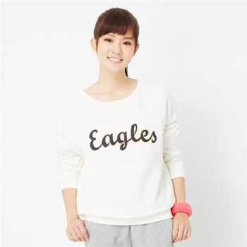 【TOP GIRL】圓領長袖字母繡T恤(白色)