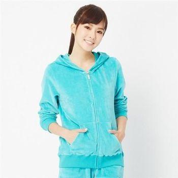 【TOP GIRL】休閒絨質連帽外套(湖水綠)