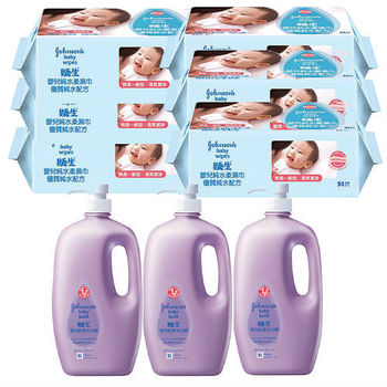 嬌生嬰兒 純水柔濕巾(一般型)90片片(6包)+甜夢沐浴精1000ml(3入)