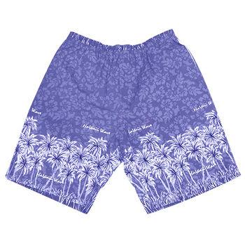 【MURANO】MIT多色系鬆緊帶印花沙灘褲 (男)  藍椰子樹