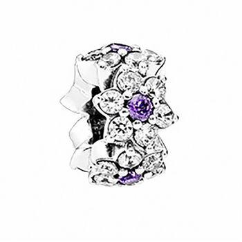 【Pandora】2016春季新款春天氣息勿忘我紫色花朵水鑽純銀串珠隔格圈(791834ACZ)
