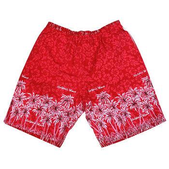 【MURANO】MIT多色系鬆緊帶印花沙灘褲 (男)  紅椰子樹