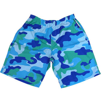 【MURANO】MIT多色系鬆緊帶印花沙灘褲 (男)  藍色迷彩