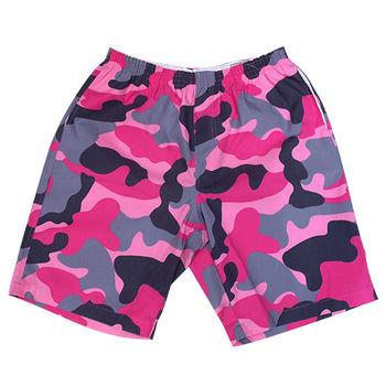 【MURANO】MIT多色系鬆緊帶印花沙灘褲 (男)  紅色迷彩
