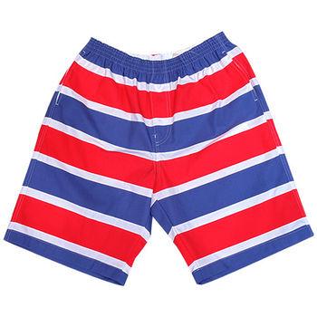 【MURANO】MIT多色系鬆緊帶印花沙灘褲 (男)  紅藍條紋