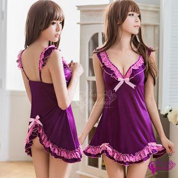 【Sexy Cynthia】性感睡衣 浪漫粉紫兩件式後開襟睡衣