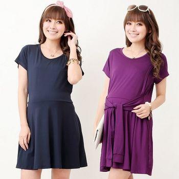 【時尚媽咪】韓系純色簡約時尚洋裝(共二色)
