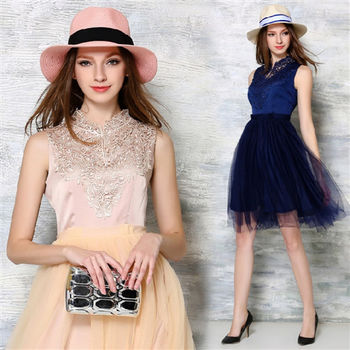 【理子時尚】蕾絲拼接修身禮服洋裝(共二色)