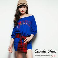 Candy小舖 假兩件字母格紋腰間綁帶洋裝