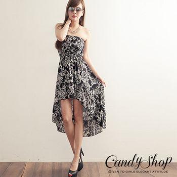 CANDY小舖 藤蔓花卉前短後長洋裝