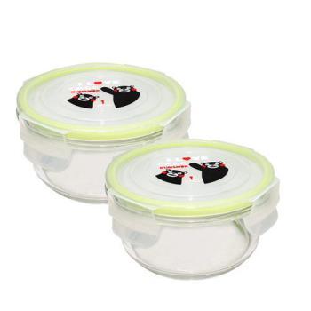 【KUMAMON】熊本熊圓型玻璃保鮮盒二入
