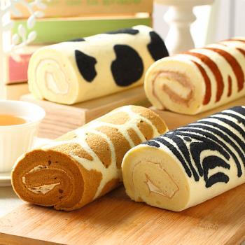 《糖果貓烘焙》幸福動物園蛋糕捲任選(420g/條,共兩條)