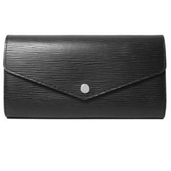 LV M60582 SARAH EPI水波紋皮革扣式長夾.黑_預購