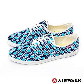 【美國 AIRWALK】幾何普普亮彩滿分休閒帆布鞋 - 女-普普藍