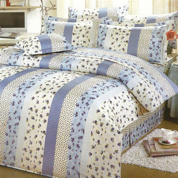 艾莉絲-貝倫 玫瑰公主(6.0呎x7.0呎)六件式雙人特大(高級混紡棉)鋪棉床罩組(藍米色)
