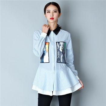 【菟絲花】大尺碼-LY個性款條紋圖案襯衫上衣-現貨+預購