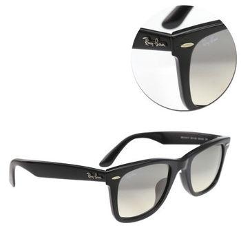 【Ray Ban】WAYFARER-亞洲版型 漸層灰色亮黑粗框太陽眼鏡(RB2140-F-901/32)