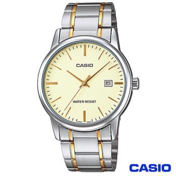 CASIO卡西歐 男仕金系商務時尚鋼帶腕錶 MTP-V002SG-9A