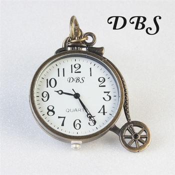 腳踏車造型復古質感鑰匙圈懷錶 大錶面款