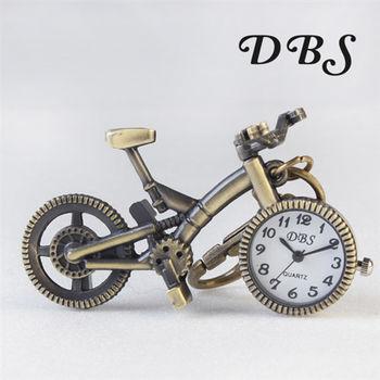 腳踏車造型復古質感鑰匙圈懷錶 小錶面款