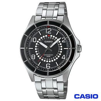 CASIO卡西歐 獨特日期造型紳士男錶-黑 MTF-118BD-1A