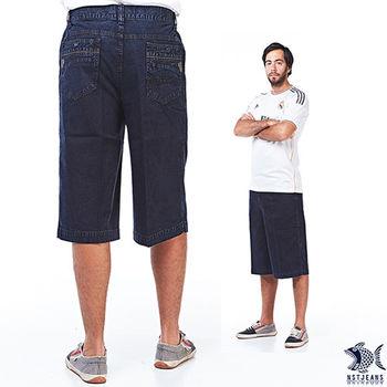 【NST Jeans】003(26243) 單寧型男黑刺青 天絲棉牛仔短褲(中高腰鬆緊寬版)無打摺/大尺碼