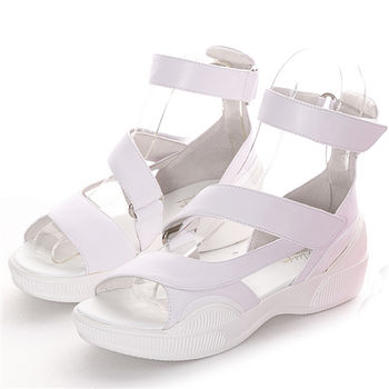 NISSA 厚底休閒蠟染洋皮涼鞋 粉紫白