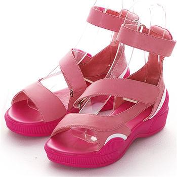 NISSA 厚底休閒蠟染洋皮涼鞋 胭脂色