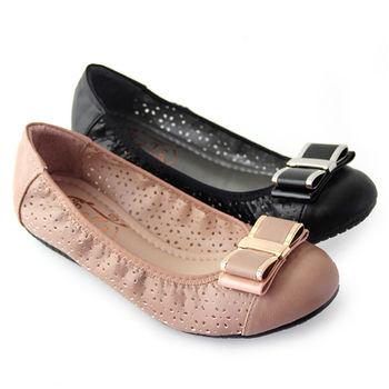【Pretty】法式朵結雷射雕花鏤空平底娃娃鞋-粉紅色、黑色