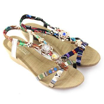 【Pretty】波希米亞璀璨花漾鑽飾楔型鬆緊繫踝涼鞋-米色、黑色