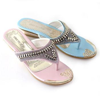【Pretty】異國風情璀璨鑽飾楔型夾腳拖鞋-粉紅色、藍色
