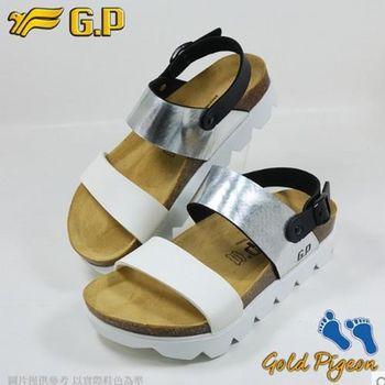 【G.P 休閒個性柏肯鞋】W767-77 銀色 (SIZE:35-39 共二色)