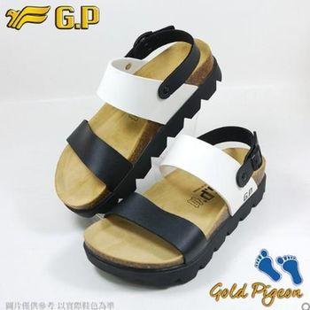【G.P 休閒個性柏肯鞋】W767-81 白黑色 (SIZE:35-39 共二色)