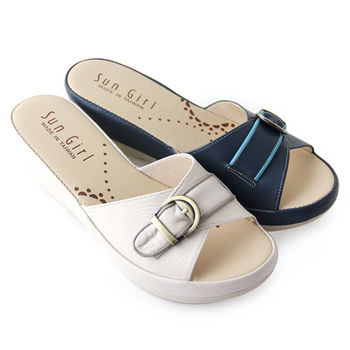 【GREEN PHOENIX】溫柔清新寬版交叉金屬裝飾扣撞色全真皮厚底拖鞋-深藍色、米色